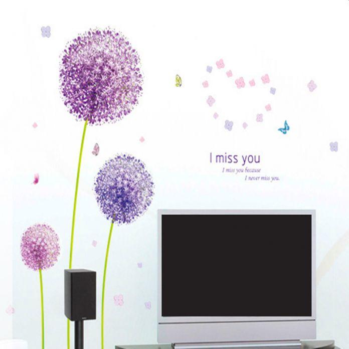 3D Фиолетовый Одуванчика Стены Стикеры творческий романтический декор дома стены спальни стены можно удалить Бесплатная Доставка