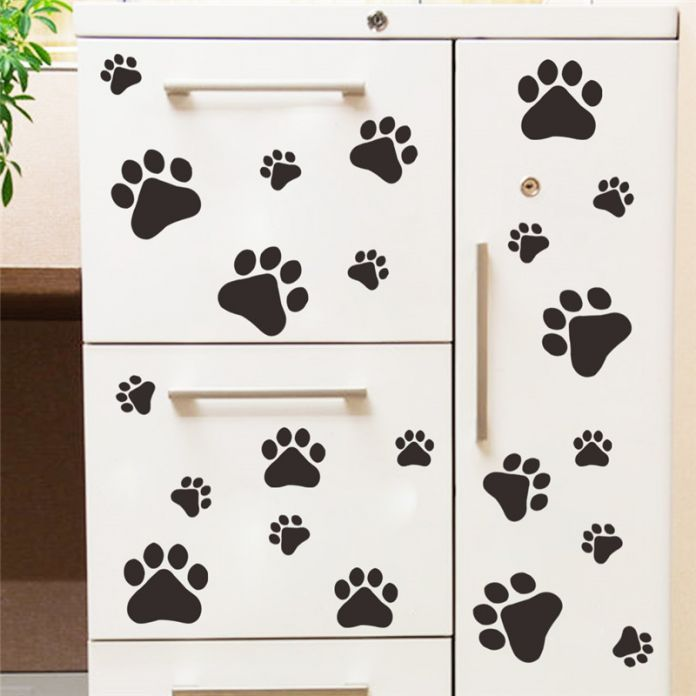 Симпатичные смешные собаки отпечаток лапы детская комната дома на стены наклейки DIY дверь шкафа декор еда блюдо кухня дом чаша автомобиля стикер