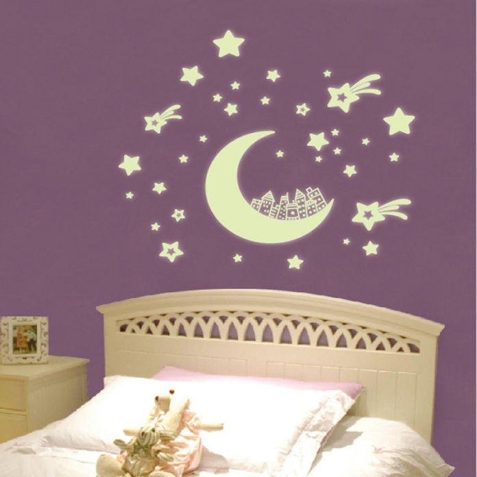 Светятся в темноте домашнего декора стикер стены наклейки дети подарок для ребенка сделай сам дом светящиеся наклейки комната декор обои виниловые