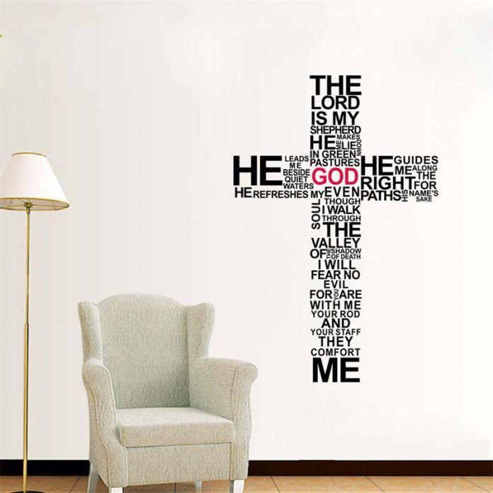 Новый крест христианский съемный стены наклейки / иисус христос молиться библия благословит домашнего декора церкви украшения 3D обои ZY8492