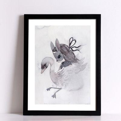 Холст Картины кролик девушка Плакаты декоративная настенная живопись Печать на Холсте Настенные Панно Украшение Дома