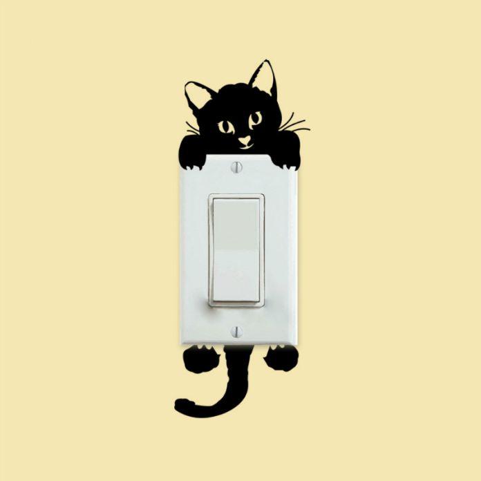 ! Водонепроницаемый Мультфильм Kawaii Черная Кошка Переключатель Наклейки Стены Стикеры Ванная Комната Спальня Гостиная Украшения Дома