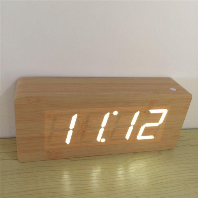 2016 новый Современный Календарь Будильники, термометр Деревянные часы, СВЕТОДИОДНЫЙ дисплей Часы, большие цифры с цифровые часы
