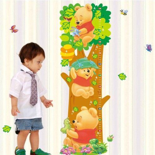 Винни пух мультфильм детская комната деревья медведь животные стены высота мера рост диаграмма для детской комнаты домашнего детские отличительные знаки