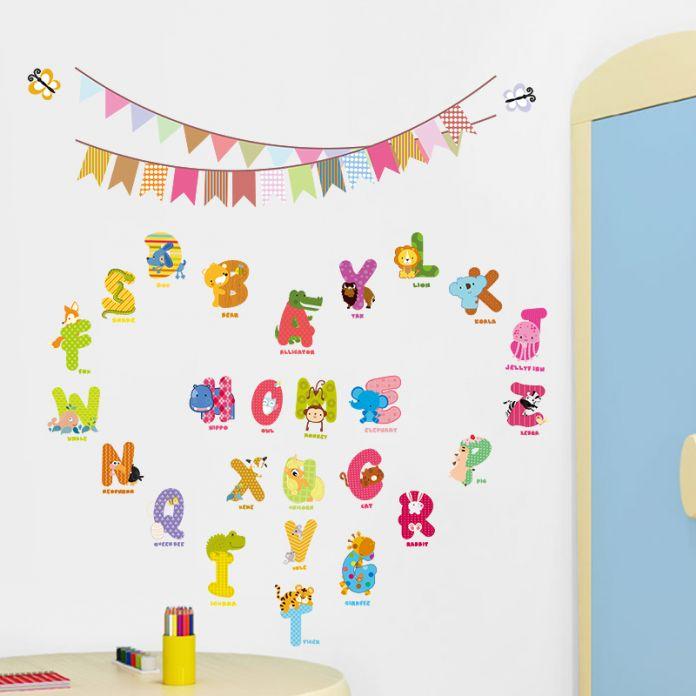 2016 животных персонажи письма стикер стены флаг детская детская комната на день рождения украшения английский наклейки на стены алфавит логотип подарок