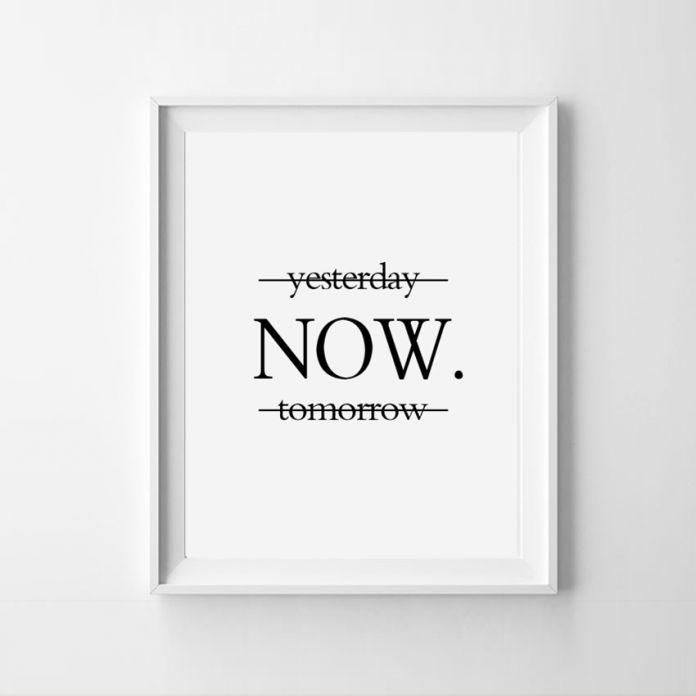 Вчера сейчас завтра мотивационные плакаты стены искусства печать на стене минималистский черный и белый слизка уолл декор печать