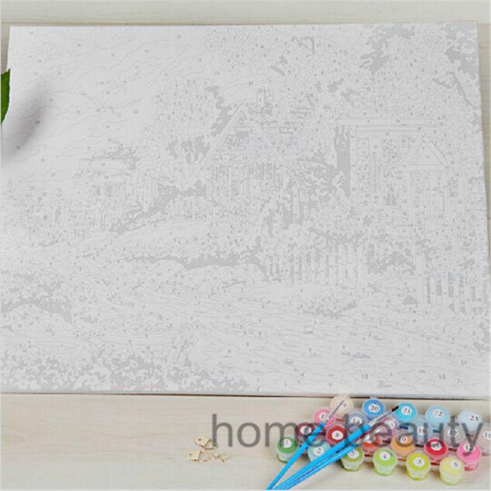 Diy цифровая живопись маслом по номеру paint рисование раскраски по номеру холст ручной росписью картины ландшафта декора стены кабины E095