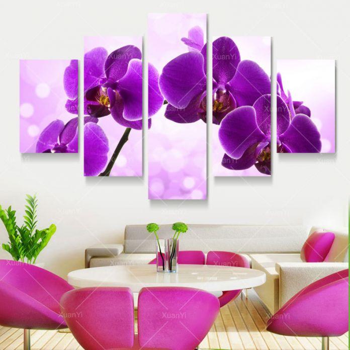 5 Панель Новый Современный Фиолетовый Цветок Живопись Картины Cuadros Decoracion картина на Холсте Стены Декор Для Гостиной Без Рамки XY284