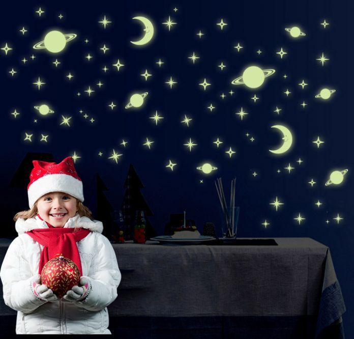 Ночное небо звезды декор стен наклейка светятся в темноте флуоресценции палку на стены наклейки для детей комната планета луна звезды
