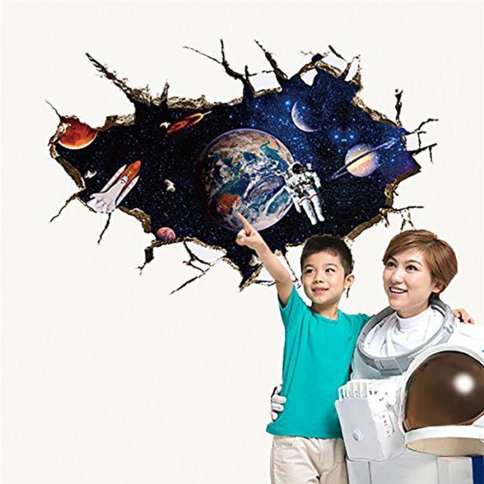 3D Космос Планета Стикер Стены Для Детская Комната Декор Galaxy Астронавт Росписи Наклейки Домой Гостиная Украшения Съемный