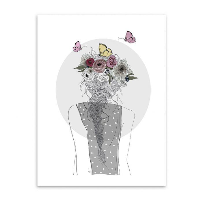 Девушка с Цветами Печать на Холсте Живопись Плакат, настенные Панно для Украшения Дома, Декор стен CM033-2