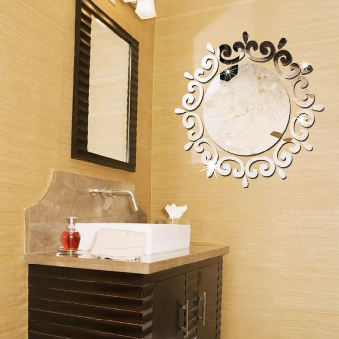 46*46 см Творческий Круглый с Кружевом DIY 3D Акриловые Зеркальной Поверхности Стены Стикеры Для Спальни Ванная Комната Комод Гостиная номер