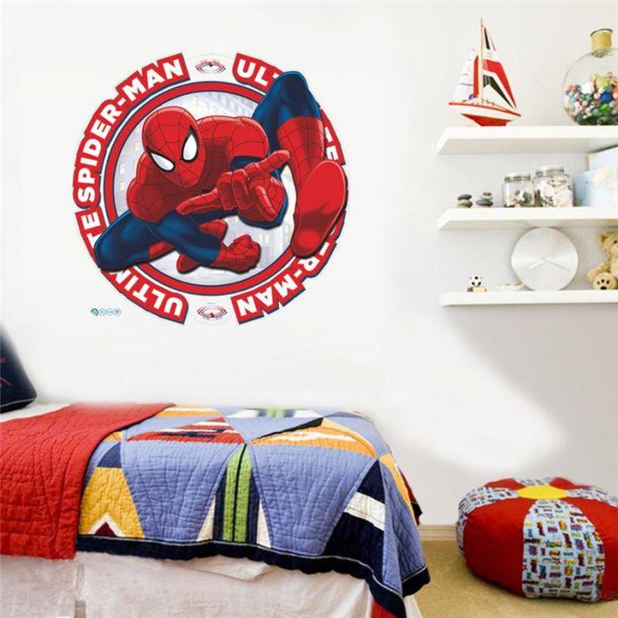 Паук супер герои стены стикеры детская комната декор мстители дома таблички мультфильм мальчики спальня декоративные плакат