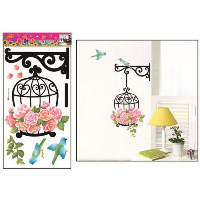 Дом моды Декор Скворечник Клетка Для Птиц Цветок Стикер Стены Съемный ПВХ Наклейка