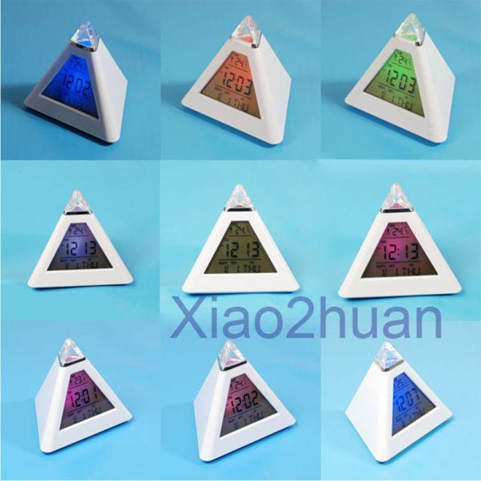 Новый ЖК Пирамида Будильник Многоцветный Ночь