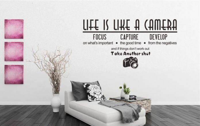 DIY Жизнь Похожа На Камеру Письмо Стены Наклейки Для Детей Ванная Комната Двери Украшения Спальни Цитата Виниловые Обои Домашнего Декора