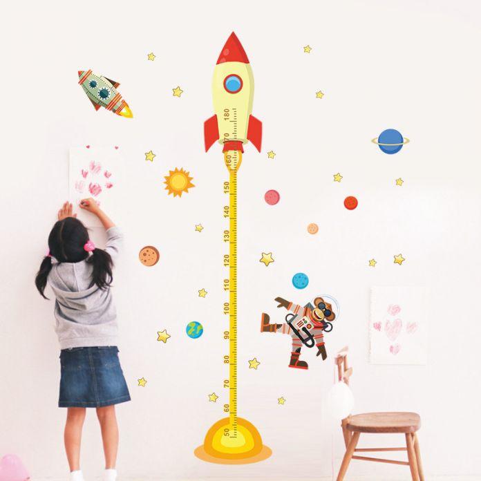 Diy космос Планета Обезьян Пилот Rocket главная наклейка высота мера стикер стены для детская комната детские детские диаграмма роста подарки