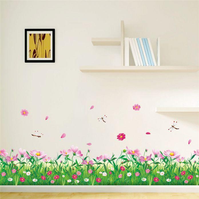 Diy домашнего декора характер красочные цветы трава стрекоза наклейки 3d наклейки на стены цветочные тв украшения
