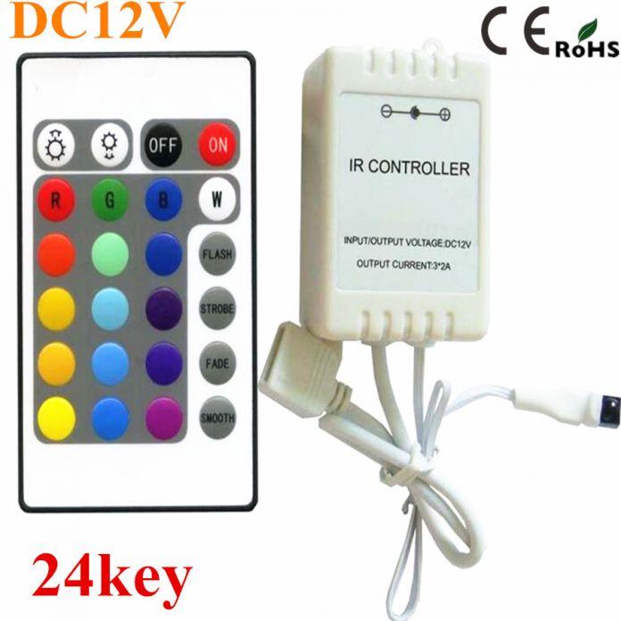 1 ШТ. Бесплатная доставка DC12V 24 Ключи ИК-Пульт Дистанционного RGB Контроллер для SMD3528/5050/5730/5630/3014 RGB СВЕТОДИОДНЫЕ Ленты lights Мини Контроллер