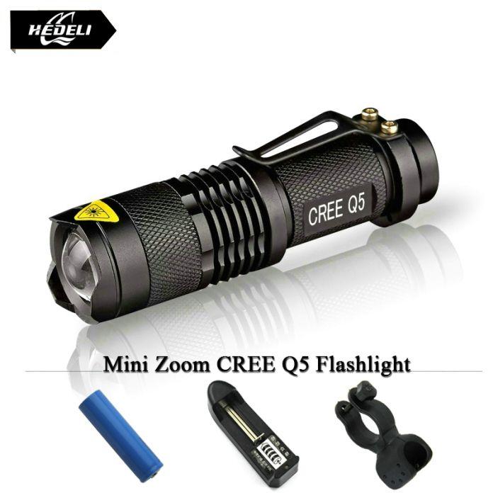 Портативный мини светодиодный фонарик cree q5 3 режим лампы zoom фонарь факел 2000 LM Вспышки Свет Lanternas 14500 батареи или АА baeetry
