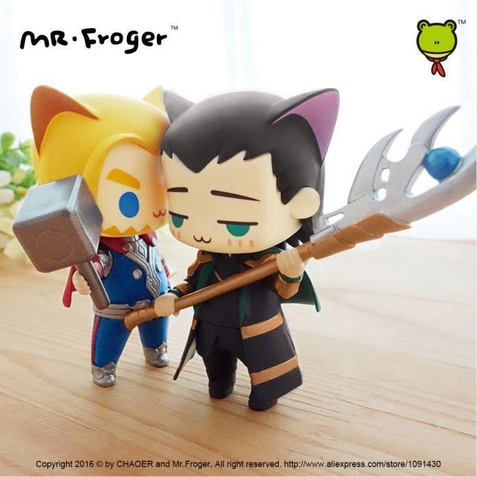Г-н Froger марвел мстители альянс тор Локи cat версии чиби симпатичные фигурки Супер герой модель ПВХ куклы игрушки анима