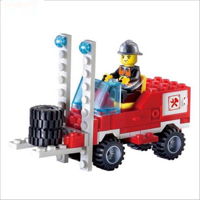 Бесплатная Доставка! 130 Шт. Пожарный автомобиль DIY Модель Building Blocks Образования Puzzle Фигурку Игрушки Рождественский Подарок Для Малыша