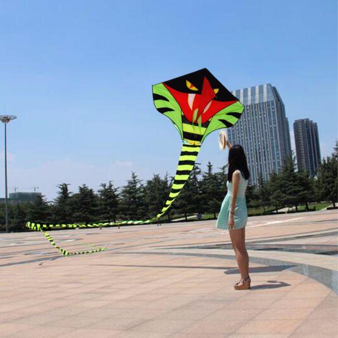 15 м Мощность Голубой Для Кобра Кайт Зеленый Длинные Змея Змеи Открытый Хохма Спорт Воздушных Змеев Легко Летать детская игрушки
