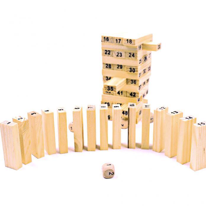 Сосна Деревянная Башня Деревянные Блоки Игрушки Домино 54 шт. Укладчик Экстракт Здание Обучающая Игра Подарок 4 шт. Кости