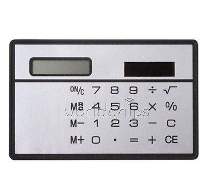 8 Цифр Ультра Тонкий Мини Тонкий Солнечной Силы Кредитной Карточки Карманный Калькулятор Белый