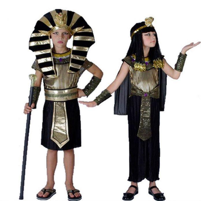 Хэллоуин Костюмы Мальчик в Девочке Древний Египет Египетский Фараон Клеопатра Принц Принцесса Костюм для Детей Дети Косплей Одежда