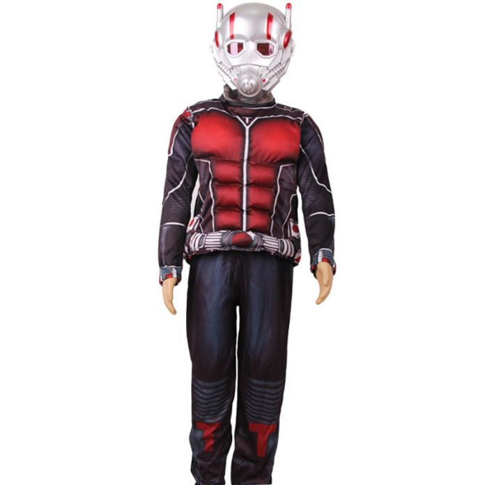 Ребенок Делюкс Муравей человек Мышцы Костюм Мальчики Marvel Новый Супергерой Косплей Хэллоуин Необычные Платья 3 шт. Наряд Для Детей LED маски