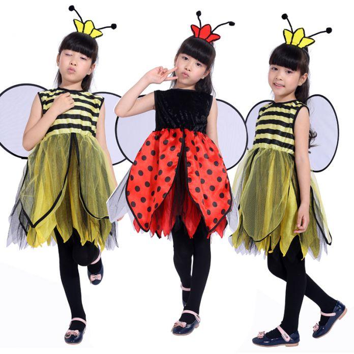 2016 новая бесплатная доставка детский маскарад партия костюм Пчелы для девочек Би божья коровка Хеллоуин костюм Красивая