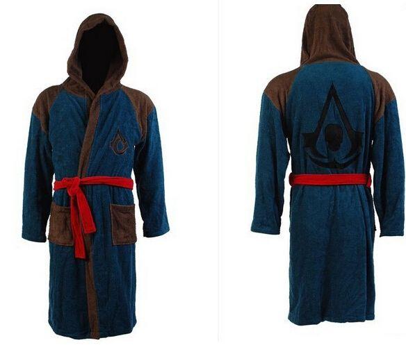 100% хлопок мужские убийц убийцы 4 банный халат пират скрытый клинок эдвард Kenway толстовка халат хэллоуин косплей костюм подарок