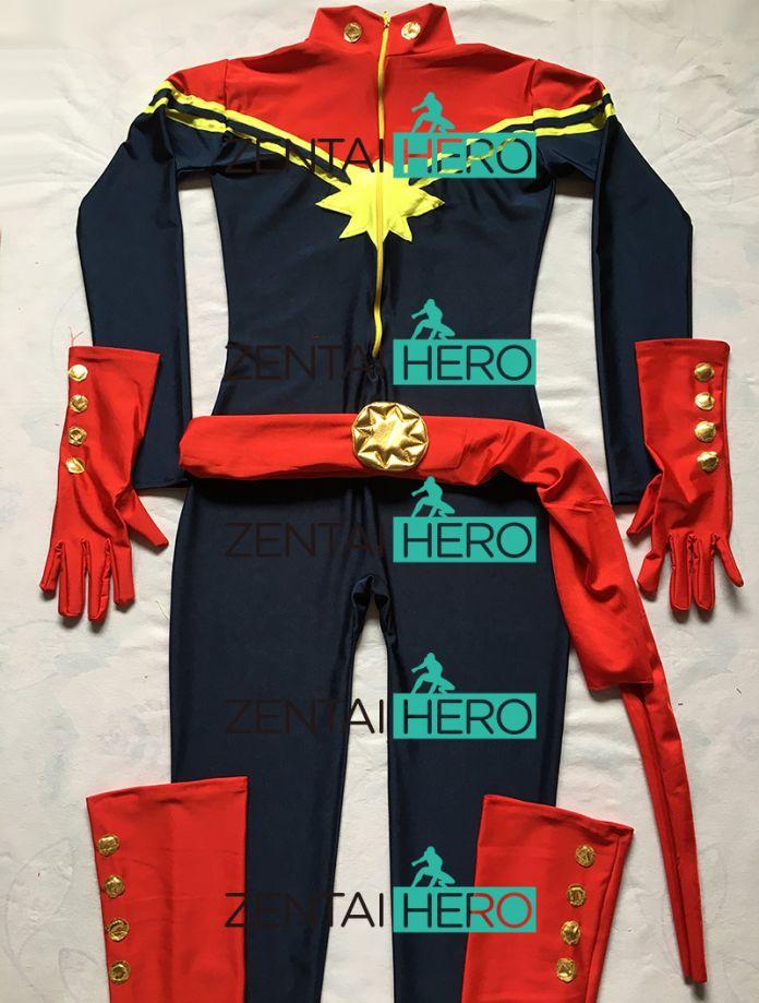 Бесплатная Доставка DHL Новый Темно-Синий И Красный Спандекс Г-Жа Капитан Марвел Superhero Костюм Для 2016 Хеллоуин Костюм MCC009