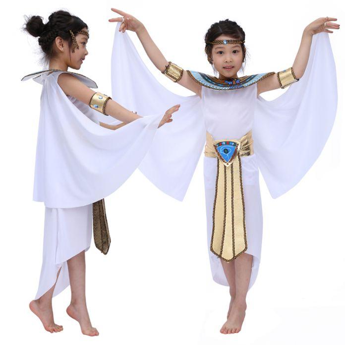 Бесплатная доставка 2016 новый Дети Хэллоуин Косплей Маскарад королева Клеопатра костюм для девочки Принцесса костюм