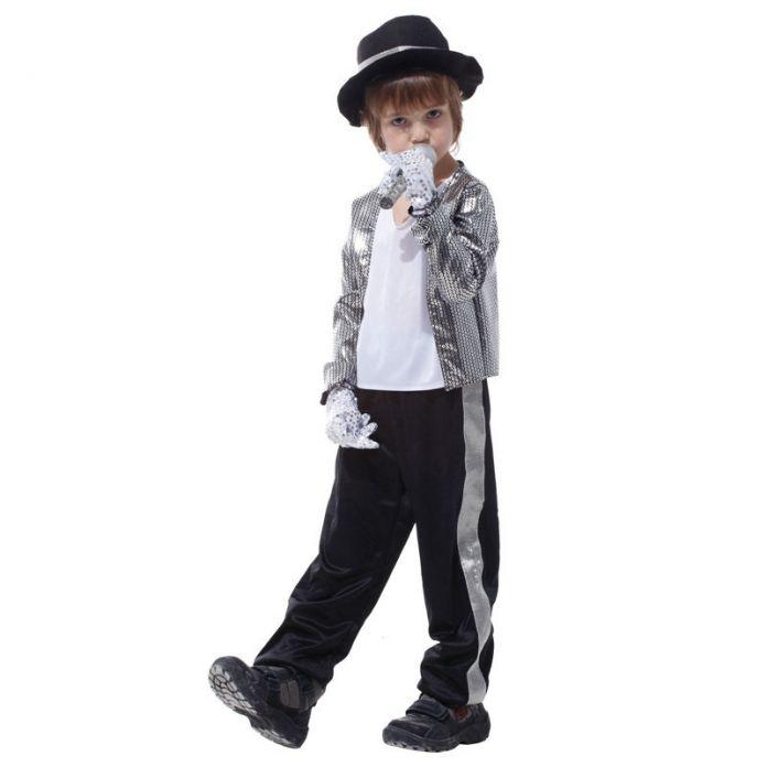 Бесплатная доставка! Действия Суперзвезда Майкл Джексон Играет Костюм Костюмы Хеллоуин Костюм Партии Принц Мальчик Серебряные Блестящие Ткани