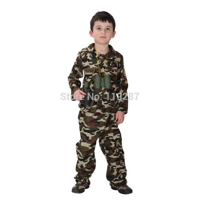 Бесплатная доставка новое платье дети этап армейские костюмы Хеллоуин костюм спецназ красивый солдат платье камуфляж одежда