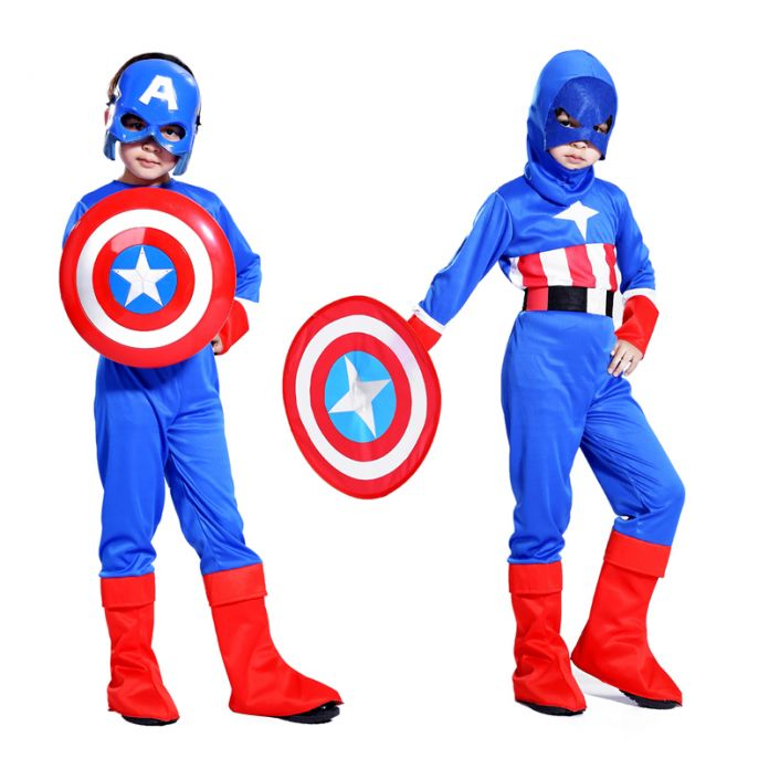 Бесплатная доставка Хеллоуин костюм косплей Капитан Америка щит дети костюм мальчика шоу костюмы Маскарадные костюмы