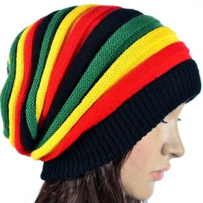 Мода Боб Марли Ямайский регги cap многоцветный Полосатый Rasta Hat Громоздкая Сумка Мешочек Шапочка Skullies Gorro раста Женщины