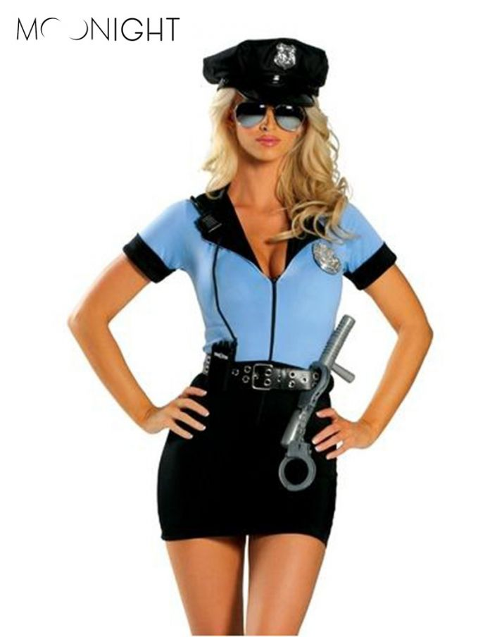 MOONIGHT Новый Полиция Необычные Хеллоуин Костюм Sexy Cop Костюм Женщина Косплей Sexy Эротическое Белье Полиции Костюмы для Женщин 3 шт.