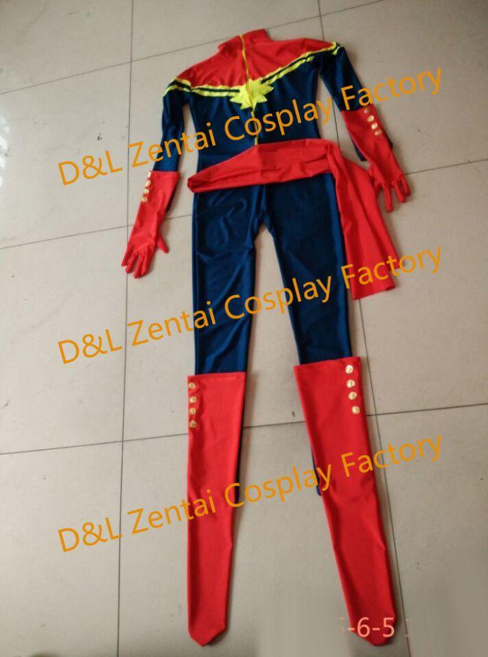 Бесплатная Доставка DHL MS Marvel Костюм Капитан Марвел Карла Sofen Костюм Военно-Морского Флота и Красный Лайкра Super Hero Костюм Хэллоуина XM1726