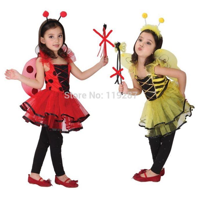 Розничная Симпатичные Божья Коровка фея хэллоуин костюмы для детей девочек платья, маленькая девочка Стрекоза танцевальные костюмы, девочки принцесса костюм