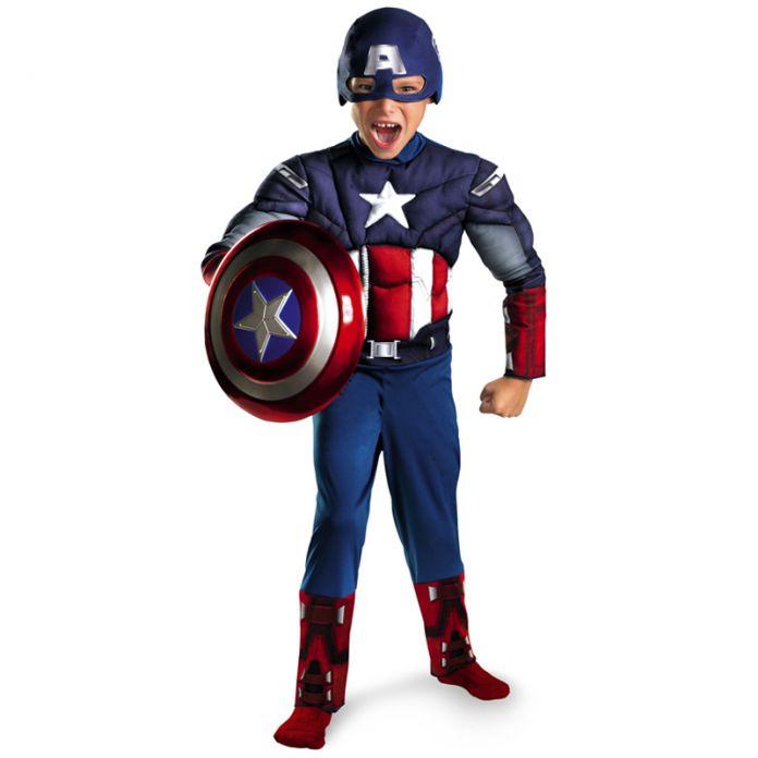 Дети Мстители Капитан Америка Мышцы Костюм disfraces хэллоуин superhero мальчиков день рождения Рождественский подарок косплей необычные платья