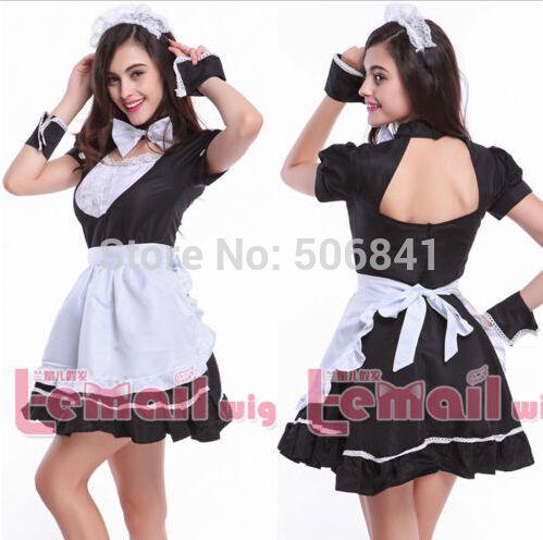 Популярные Роль Косплей Платье Черный Сексуальный Японский Костюм Горничной Женщины WSJ06