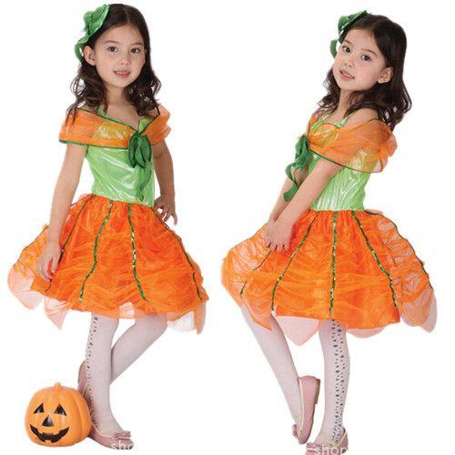 2016 детей Малыша костюмы очаровательны симпатичные девушки костюм для halloween party тыква платье косплей Маскарад одежда