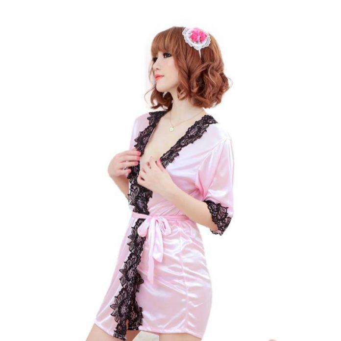 SIF 2016 Сексуальные Шелковые Кружева Кимоно Халат Банный Халат Белье Ночная Рубашка AGU 25