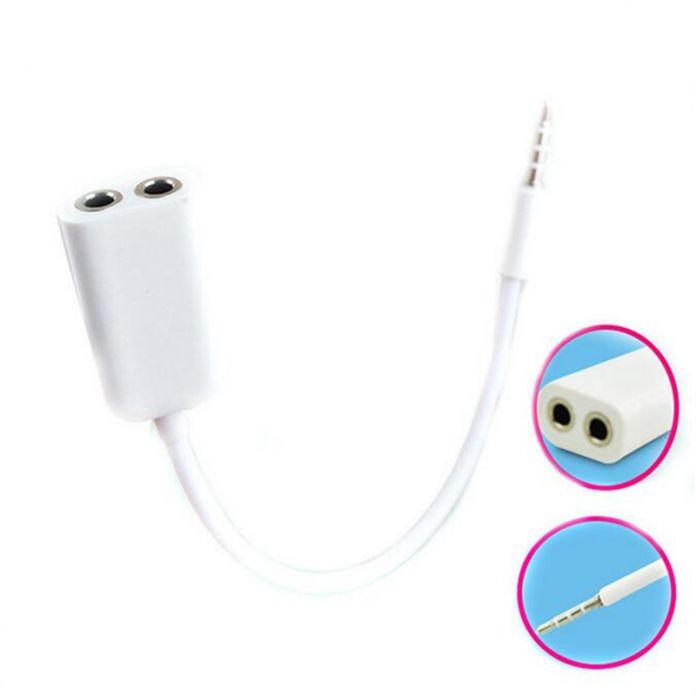 2016 горячий белый генерал 3.5 мм 1 мужской, 2 женский audio гарнитура дистрибьютор Adpater кабель