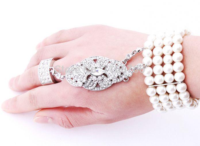 Свадебные ювелирные изделия белла Great гэтсби браслет платье невесты браслет простирание жемчуг браслет комплект для женщины