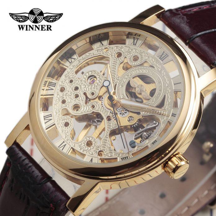 Мужская Скелет Механические Часы Победитель наручные часы Человек часы Кожа Relogio Masculino Роскошные Мода Повседневная Наручные Часы