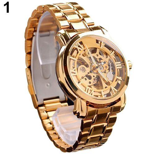Мужские ретро римские цифры скелет часы золотисто-тон наручные механические часы мужские тонировка авто часы мужские наручные механические скелет рука ветер